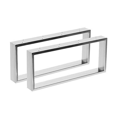 2x Tischgestell aus Edelstahl in 2 Oberflächen Hochglanz & gebürstet in 10 Varianten zur Auswahl (70x41cm, Hochglanz)