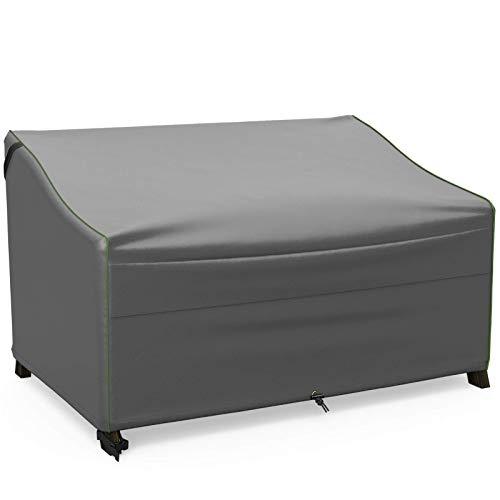 Cubierta del sofá del Patio, Cubierta de Doble sofá de Muebles de Exterior de 57 Pulgadas, 100% Impermeable, Resistente y Resistente a la Intemperie, Gris