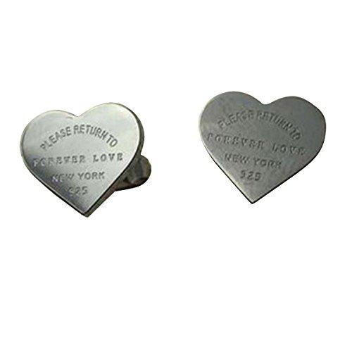 Butterme Oro bianco argento 18K placcato a forma di cuore delle signore'Forever Love' orecchini a vite per le ragazze delle donne