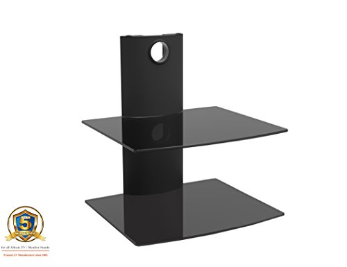 Allcam Universal Dvd Player/Amplifier/Speaker Wall Mount in Black W/Two Black Glass Shelfs for LCD/Plasma/LED TVs