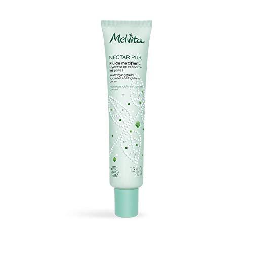 Melvita - Fluide Matifiant Nectar Pur - 100% Naturel, Vegan et Certifié bio - Soin Hydratant et Purifiant - Idéal Peaux Mixtes à Grasses - Fabriqué en France - Tube 40 ml