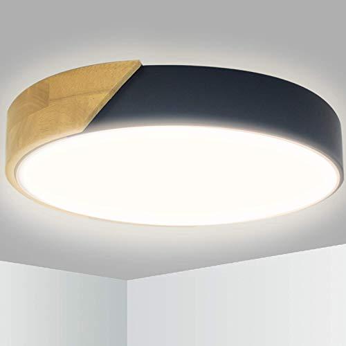 Kimjo 24W Holz LED Deckenleuchte, 2400LM 4500K Modern Runde Deckenlampe, Ø30cm *5cm Ultra-dünne, für Schlafzimmer Wohnzimmer Kinderzimmer Flur Küche