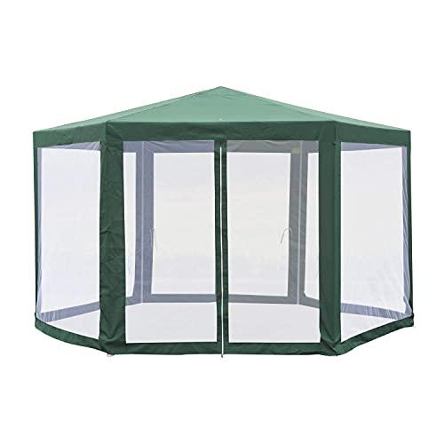 VANGALOO Cenador hexagonal para eventos, tienda de campaña, parasol para el sol, toldo de lujo, carpa para fiestas, protección solar para exteriores, toldo fácil