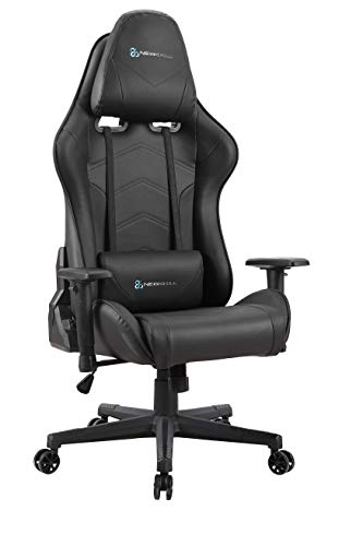 Newskill Kitsune - Silla Gaming Profesional (Inclinación y Altura Regulable, reposabrazos 2D Ajustables, Base en Nylon, reclinable 180º), Color negro, tela