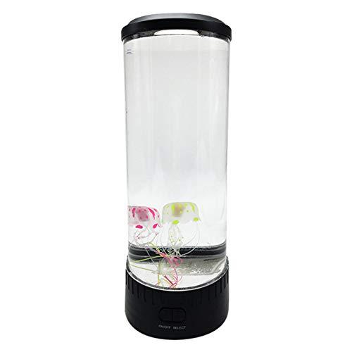 Abimy Jellyfish Tank Nachtlicht Aquarium LED Tisch Schreibtisch Nachttischlampe, The Calm Ocean Simulation Aquarium Zylindrisches Aquarium Licht USB Plug-in LED Farbwechsel Licht