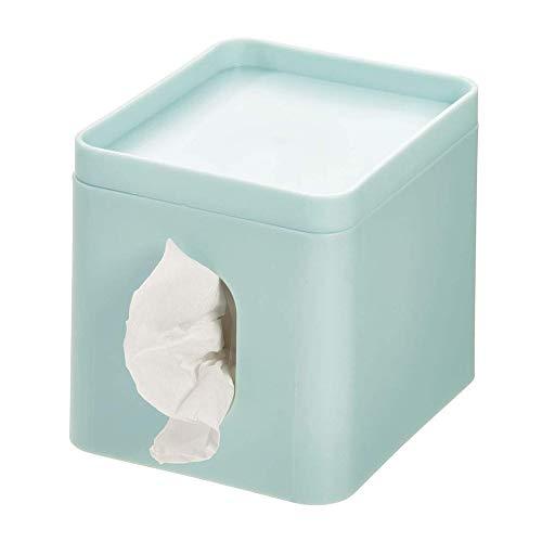 iDesign Kosmetiktücherbox, kleine Aufbewahrungsbox für Papiertücher aus Kunststoff, Taschentuchbox mit Ablage für Schmuck und Schminke, hellblau