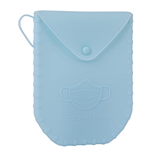 APLI - 18830 - Porta mascarillas de silicona con cierre de botón color AZUL - Portamascarilla con asa- Ideal para mascarillas quirúrgicas