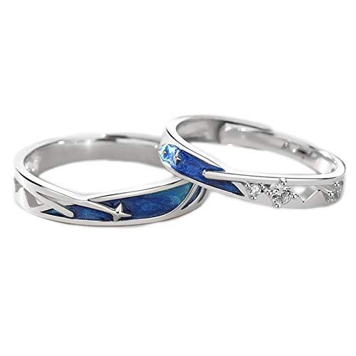 Anillo de plata de ley S925 con diseño de estrella creativa, ideal como regalo conmemorativo para parejas