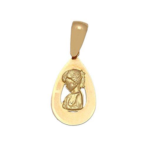 Medalla de Comunión lágrima de Oro 18 KL.Virgen Niña un Recuerdo Especial para tu ahijada