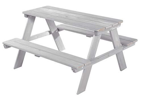 roba Kinder Outdoor + Sitzgruppe 'Picknick for 4', wetterfeste Sitzgarnitur für drinnen und draußen aus Massivholz in grau, besonders stabil und langlebig