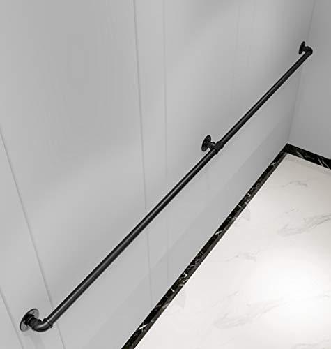 GJIF Handlauf Treppengeländer, Schwarzer Sicherheitshandlauf aus Schmiedeeisen, rutschfeste Treppenhandläufe für Industrierohre, Treppenhandlauf für schwangere Kinder und Kinder, 100-400 cm