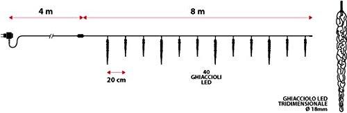 XMASKING Catena 8 m, 40 LED Blu con Decorazione Ghiaccioli, Cavo Verde, Decorazioni Luminose, luci...