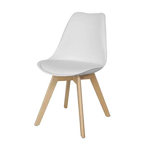 SoBuy® FST58-W Chaise scandinave de cuisine salle à manger avec assise rembourrée chaise de visiteur - Blanc