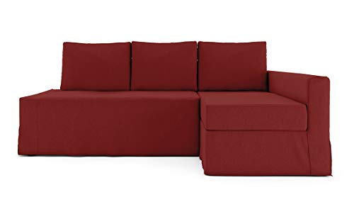 TLY Funda de algodón para sofá cama Friheten de 3 asientos y funda seccional para sofá cama de IKEA Friheten, color rojo