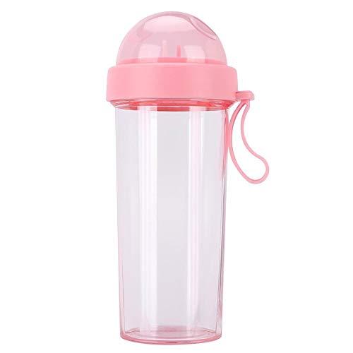 Aigend Wasserflasche - 600 ml tragbare Wasserflasche mit Zwei Strohhalmen und doppeltem Verwendungszweck für den Outdoor-Reisesport(Rosa)