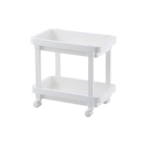 WUDAXIAN Badezimmer-Regal-Flaschenzug, den es bewegen kann, Rollen-Landungs-Kleiner Trolley-Lagerregal-Kabinett-2. Stock-Griff für Badezimmer-Küche