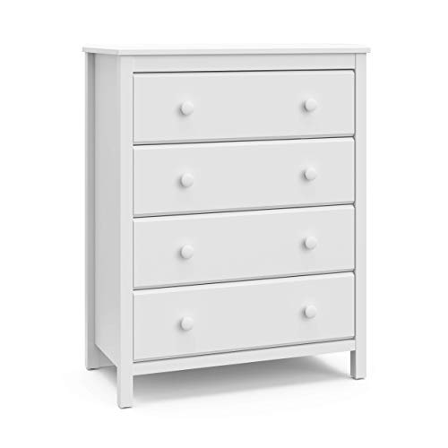 Find Bargain Storkcaft Alpine 4 Drawer Dresser (White) – Stylish Storage Dresser Chest for Bedroom...