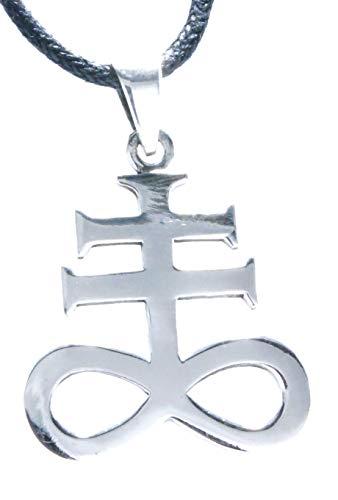 Kiss of Leather Leviathan Kreuz Anhänger aus 925 Sterling Silber mit Baumwollband