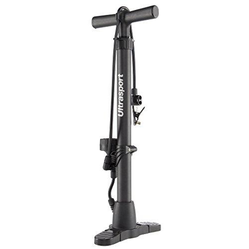 Ultrasport Luftpumpe für Fahrrad und Auto, Standpumpe mit Manometer, praktische Luftstandpumpe für gängige Autoventile und Fahrradventile Dunlop, Schrader, Presta, inklusive Druckanzeige