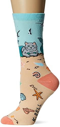 Sperry Women's Novelty Crew Socks, Cat Mermaid (Sand), Shoe Size: 4-10