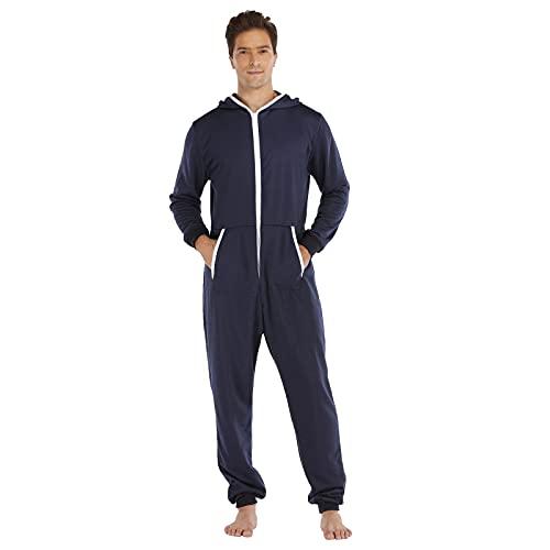 BIBOKAOKE Chándal para hombre de una sola pieza, mono de pijama, chándal deportivo para fitness, chándal de una pieza, traje de cuerpo entero con capucha, pijama de invierno de una pieza