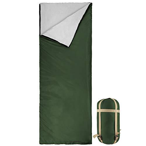 Bessport Schlafsack Sommer Ultraleicht | 3 Jahreszeiten Deckenschlafsack nur 800g für Camping, Erwachsene, Kinder-Warm Baumwolle Füllung, Wasserdichter (Olive)