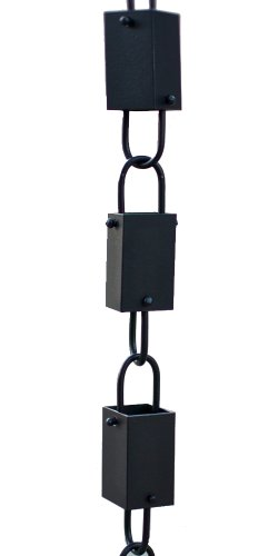 Rain Chains Direct Square Link Rain Chain, 8.5 Feet Length, Aluminum, Black Powder Coated, Functional and Decorative Replacement for Gutter Downspouts