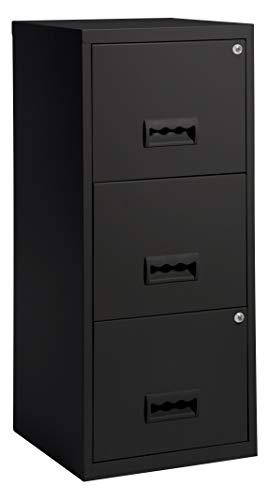 shelfmade Aktenschrank aus Metall abschließbar mit Schubladen Büroschrank für Hängeregistern in versch. Ausführungen (Schwarz)