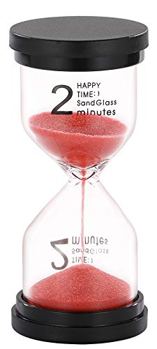SuLiao Hourglass 2 Minute Sand Timer: Red Sand Clock, Plastic Sand Watch 2 Min, Large Reloj De Arena 2 Minutos, Hour Glass Sandglass for Kids, Brushing Teeth, Classroom, Kitchen, Games, Decoration