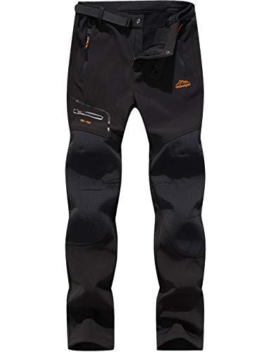 DENGBOSN Herren Wanderhose Wasserdicht Softshellhose Outdoorhose Winddicht Warm Gefüttert Winter Trekkinghose,KZ1602-Black4-M