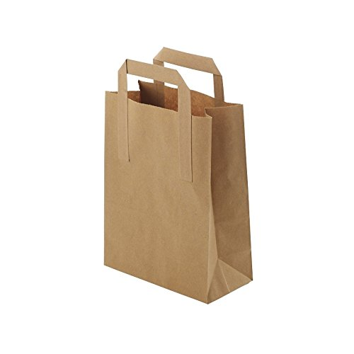 BIOZOYG Umweltschonende Papier Tragetaschen groß I Papiertüten Geschenktüten Papiertragetaschen biologisch abbaubar, kompostierbar I 250 x braune Papier Tüten 22 x 10 x 28 cm