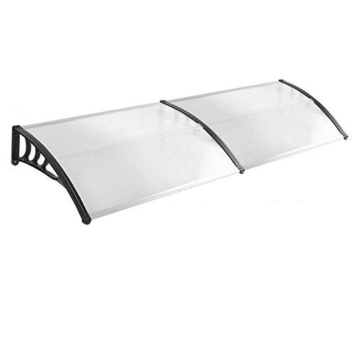 HENGMEI 100x200cm Vordach Haustür Überdachung Haustürvordach Pultvordach Türdach Regenschutz, Transparent Kunststoff, Schwarz