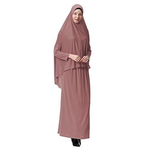 Hougood Abaya Muslim Damen Muslimische Kleider Islamische Kleidung Zweiteiler voller Länge Hijab Kleid Robe Anzug Abaya Schal Kleid Robe Kleid Gebet Kleid Top und Dress Sets Stil B