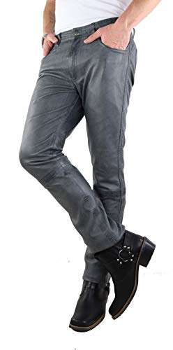 RICANO Slim Fit, Herren Lederhose in 5-Pocket Jeans Optik aus echtem Lamm Nappa Leder (Glattleder) (Schwarz, Grau, Cognac Braun) (Grau, 38)
