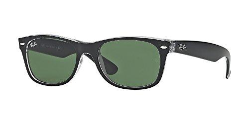 Ray Ban RB2132 New WAYFARER 6052 52M Negro Sobre Gafas de sol Transparente/Verde Para Hombres Para Mujeres