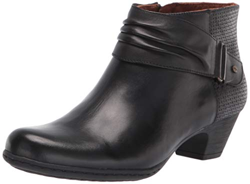 Rockport Women's Brynn Rouched Boot Ankle, BLACK, 9 Wide