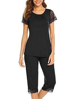 Ekouaer Womens Pajama Sets - Summer Black Pajamas for Women capri pajamas for women set
