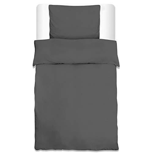 Beautissu Bettwäsche Renforcé Julie 2 TLG. Set Bettbezug 135x200 cm + Kopfkissenbezug 80x80 cm Baumwolle Anthrazit Oeko-Tex