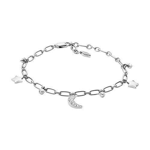 Fossil JF03289040 Damen Armband Stern Mond Silber Weiß Zirkonia 19,5 cm