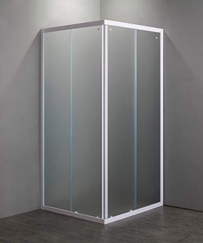 Douchecabine van gehard glas, 4 mm, schuifdeur, 2 zijden, witte profielen 70 x 90 cm, hoogte 185 cm