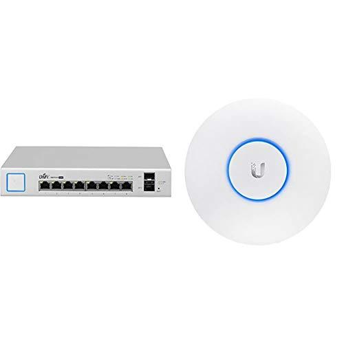 UBIQUITI Spain Networks US-8 – 150 W Gestionado Gigabit Ethernet (10/100/1000) + Networks UAP-AC-LR - Punto De Acceso Inalámbrico, Puerto Ethernet 10/100/1000, Blanco, 175.7 X 175.7 X 43.2 Mm