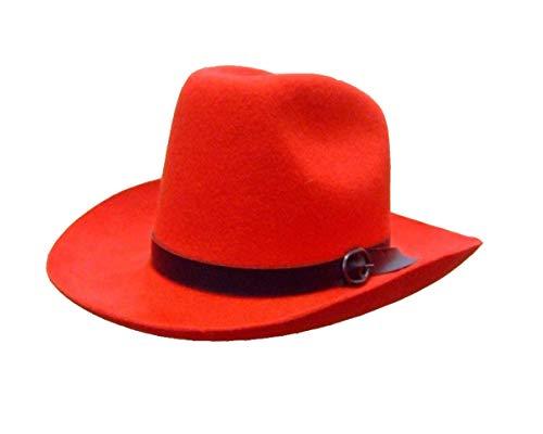 Sombrero Cow Boy de fieltro, color rojo, talla 60