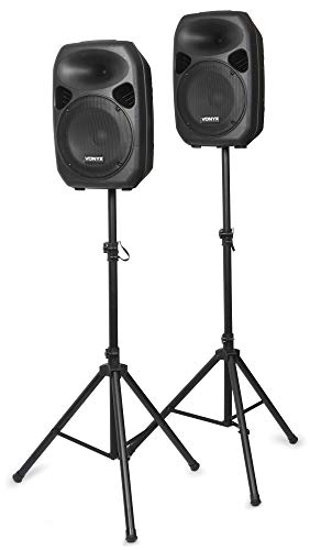 Skytec SPS122 PA-Lautsprecher Set Standlautsprecher Standboxen mit Stativ (Aktiv-Passiv-Boxen Paar, 700W, AUX-IN, Klinken- und XLR-Mikrofon-IN, 2 Lautsprecherständer) schwarz