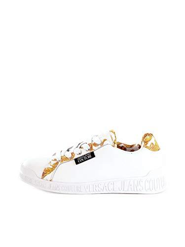 VERSACE JEANS COUTURE E0VWASP1 - Zapatillas de Baloncesto de Piel Blanca con Inserciones barrocas Blanco Size: 39 EU