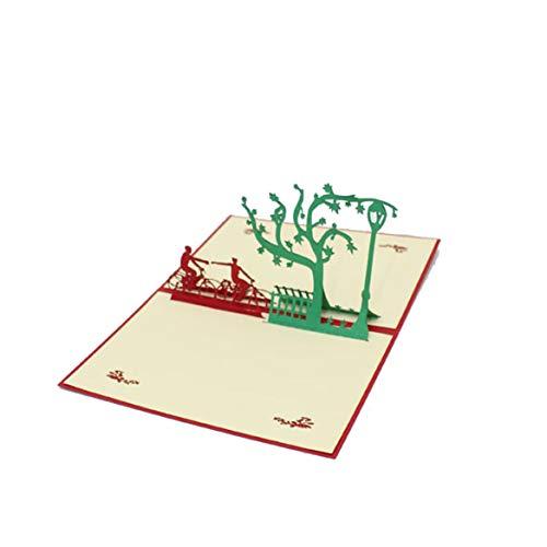 Beafavor Handgeschöpftes Papier Papier Einladungs Grußkarten des Fahrrad Liebhaber 3D mit Umschlag Postkarten kreativem Geschenk