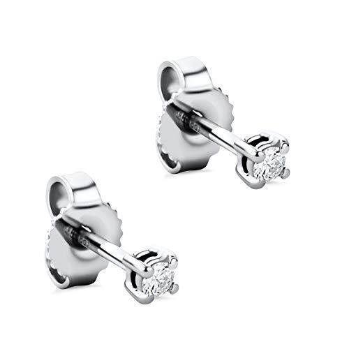 Orovi Damen Ohrringe mit Diamanten Weißgold Solitär Ohrstecker 14 Karat (585) Gold und Diamant Brillanten 0.08 Ct Ohrring Handgemacht in Italien