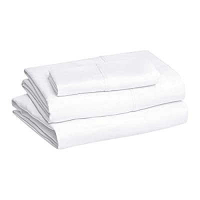 """AmazonBasics Lightweight Super Soft Easy Care Microfiber Sheet Set with 16"""" Deep Pockets - Twin XL, Bright White, 4-Pack"""