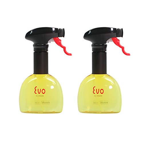 Evo Oil Sprayer Bottle, Non-Aerosol for Olive Cooking Oils, 8-ounce Capacity, Set of 2, Yellow