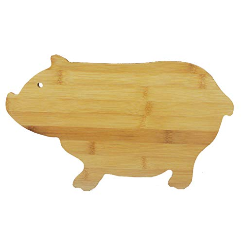 JB Home Collection 4575, Bamboo Wood Pig Cutting Board Pig Shaped Serving Board 13.5' x 7.5'
