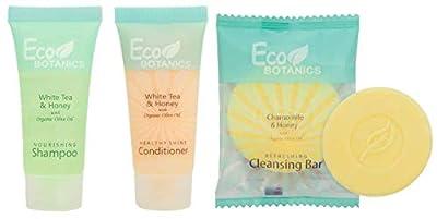 Eco Botanics Shampoo & Conditioner with Bar Soap Set | 1-Shoppe All-In-Kit Amenities & Travel Size Toiletries | 20 Shampoo | 20 Conditioner | 50 Cleansing Bar